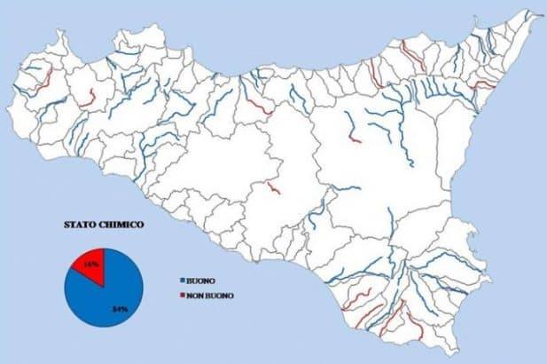 Localizzazione e Stato Chimico dei fiumi monitorati in Sicilia